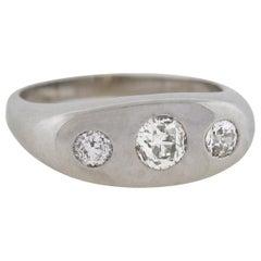 Art Deco Platinum 0.73 Total Carat Diamond Gypsy Ring