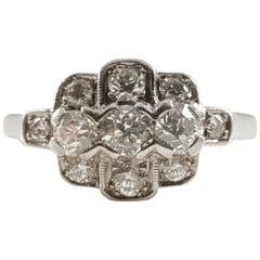 Art Deco Platinum 0.75 Carat Diamond Cluster Ring