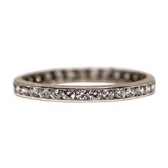 Art Deco Platinum 0.75 Carat Vintage Diamond Eternity Band, circa 1950s