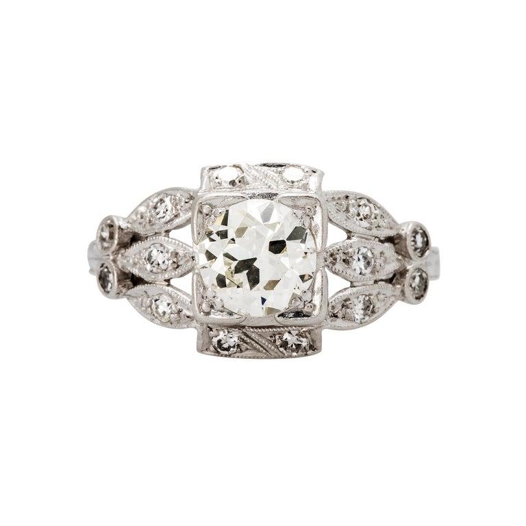 Women's Art Deco Platinum 0.88 Carat Diamond Engagement Ring For Sale