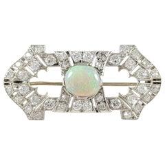 Art Deco Platinum 1.08 Carat Opal and 1.38 Carat Diamond Brooch