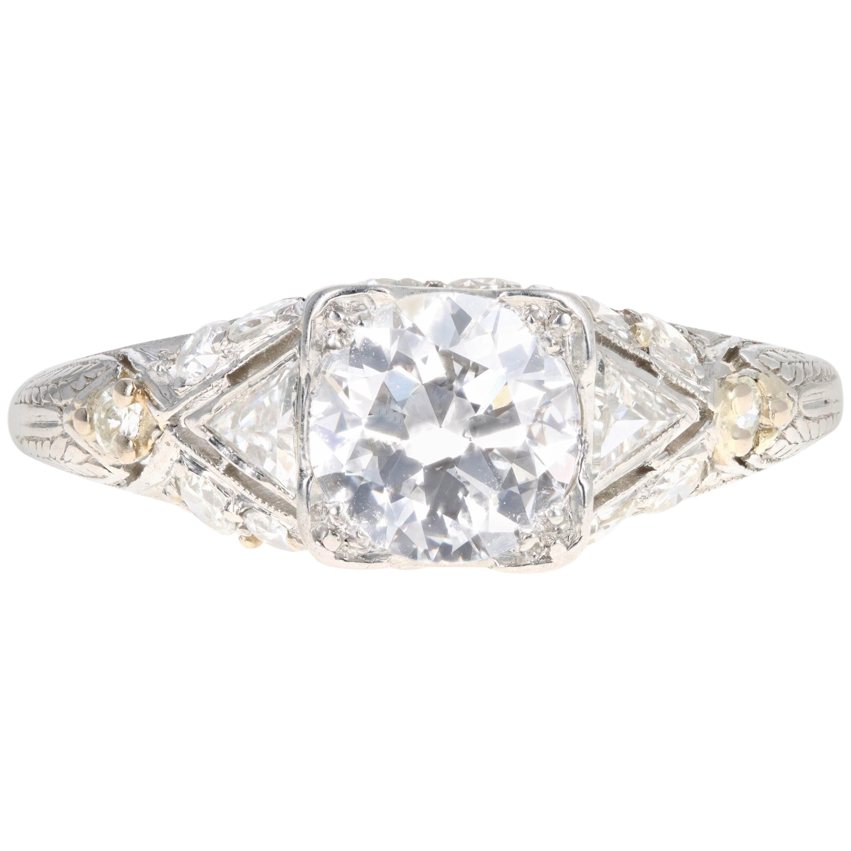 Art Deco Platinum 1.16 Old European Cut Diamond Engagement Ring