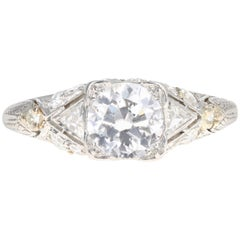 Art Deco Platinum 1.16 Old European Cut Diamond Engagement Ring