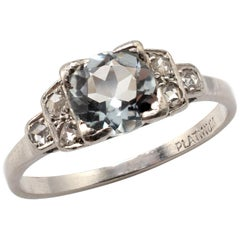 Art Deco Platinum 1.20 Carat Aquamarine Diamond Engagement Ring, circa 1925