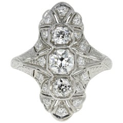 Art Deco Platinum 1.22 Carat Diamond Shield Ring