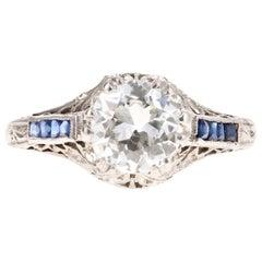 Art Deco Platinum 1.25 Carat Old European Cut Diamond & Sapphire Engagement Ring