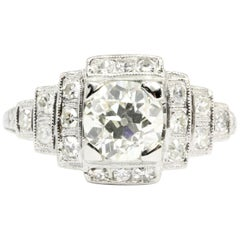 Art Deco Platinum 1.26 Carat Old European Cut Diamond Ring