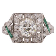 Art Deco Platinum 1.26 Ct GIA Certified Diamond and Emerald Vintage Ring