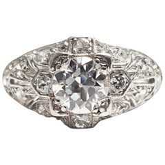 Art Deco Platinum 1.30 Carat Diamond Engagement Ring