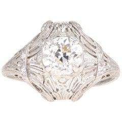 Art Deco Platinum 1.31 Carat Old European Diamond Ring