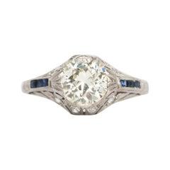 Art Deco Platinum 1.33 Carat Old European Diamond Blue Sapphire Engagement Ring