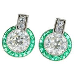 Art Deco Platinum 1.5 Carat Old European Cut Diamond and Emerald Stud Earrings