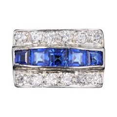 Art Deco Platinum 1.5 Carats in Total Synthetic Sapphire and Old European Cut