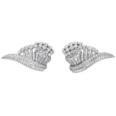 "Art Deco Platinum 16 Carat Diamond ""Wing"" Earclips!"