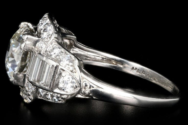 Art Deco Platinum 1.75 Carat Old European Cut Diamond Engagement Ring In Excellent Condition For Sale In Cape May, NJ