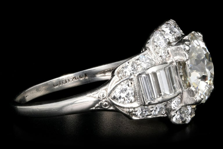 Women's Art Deco Platinum 1.75 Carat Old European Cut Diamond Engagement Ring For Sale