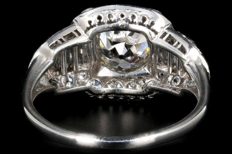 Art Deco Platinum 1.75 Carat Old European Cut Diamond Engagement Ring For Sale 1