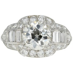 Art Deco Platinum 1.75 Carat Old European Cut Diamond Engagement Ring