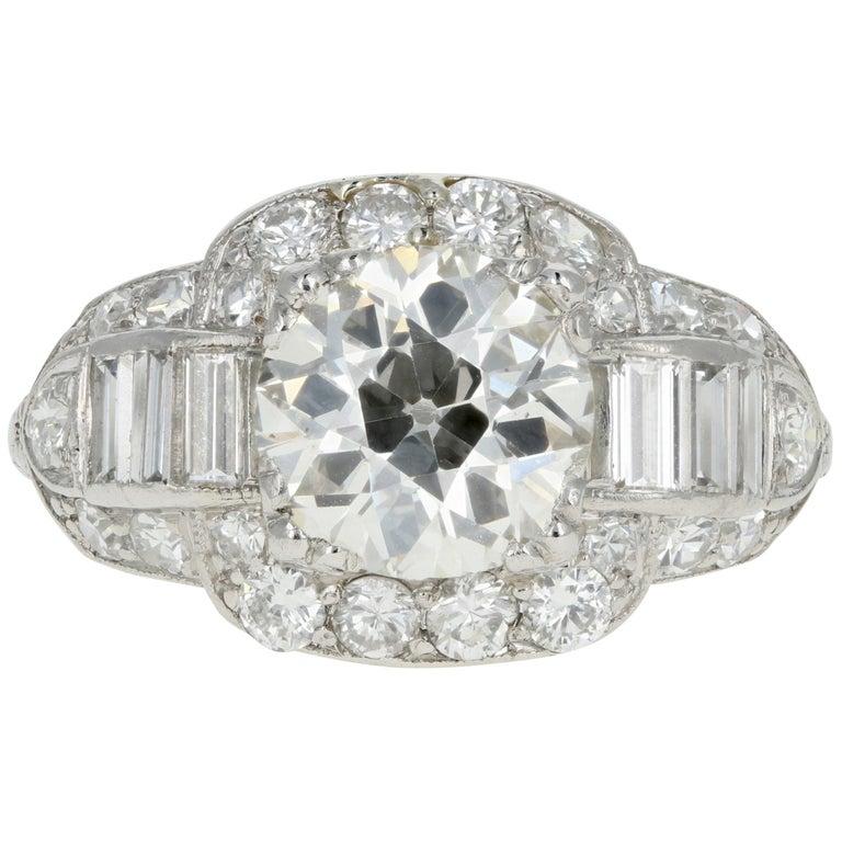Art Deco Platinum 1.75 Carat Old European Cut Diamond Engagement Ring For Sale