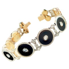 Art Deco Platinum & 18 Karat European Diamond and Black Onyx Bracelet 1.50 Carat