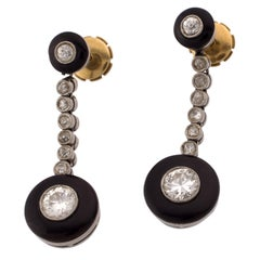Art Deco Platinum 18 Karat Gold and Onyx Dangle Earrings