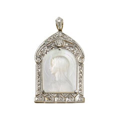 Art Deco Platinum 18 Karat Gold Diamonds Mother of Pearl Madonna Pendant