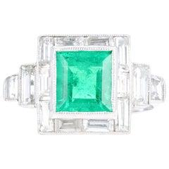 Art Deco Platinum 1.80 Carat Natural Columbian Emerald and Diamond Ring