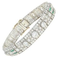 Art Deco Platinum 20 Carat Old European Cut Diamonds Natural Emeralds Bracelet