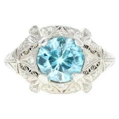 Art Deco Platinum 2.1 Carat Blue Zircon and Diamond Ring