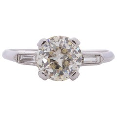 Art Deco Platinum 2.27 Carat Old European Cut Solitaire Diamond Ring