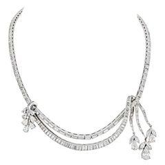 Art Deco Platinum 27.5 Carat Diamond Necklace