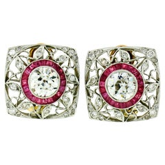 Art Deco Platinum 3.57 Carat GIA European Diamond and Ruby Filigree Earrings