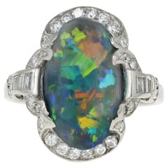 Art Deco Platinum 4 Carat Black Opal and Diamond Ring GIA Certified