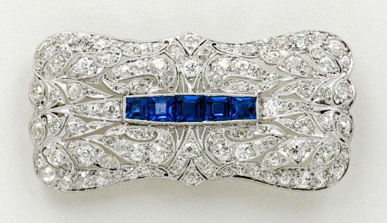 Round Cut Art Deco Platinum 4.0 Carat Diamond and Sapphire Pin For Sale