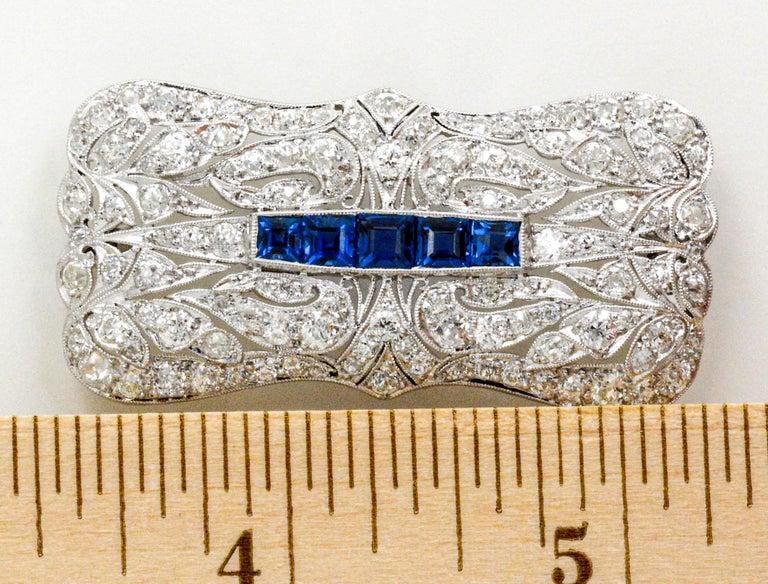 Art Deco Platinum 4.0 Carat Diamond and Sapphire Pin In Excellent Condition For Sale In Dallas, TX
