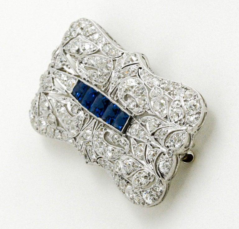 Women's Art Deco Platinum 4.0 Carat Diamond and Sapphire Pin For Sale