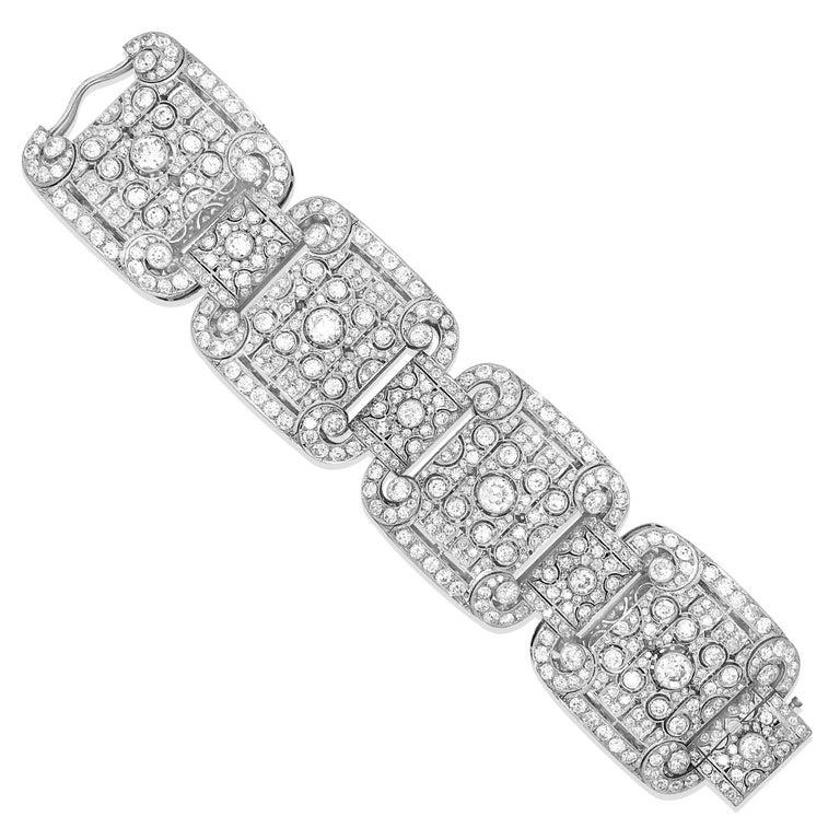 Round Cut Art Deco Style Platinum 41.2 Carat Diamond Bracelet For Sale