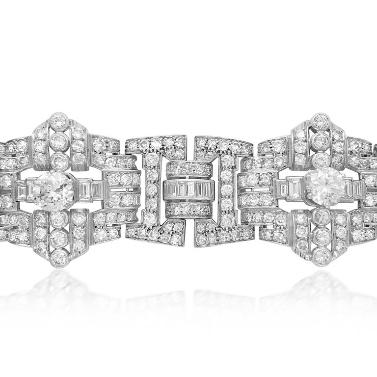 Women's Art Deco Style Platinum 41.2 Carat Diamond Bracelet For Sale