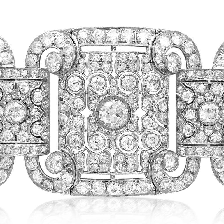 Art Deco Style Platinum 41.2 Carat Diamond Bracelet For Sale 1