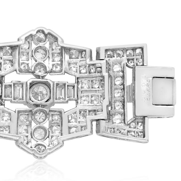Art Deco Style Platinum 41.2 Carat Diamond Bracelet For Sale 2