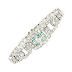 Art Deco Platinum 5 Carat Old European Cut Diamond and Emerald Bracelet