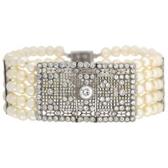 Art Deco Platinum 5-Strand Pearl and Diamond Link Bracelet