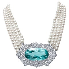 Art Deco Platinum Diamond Pearl Aquamarine Choker Necklace Brooch
