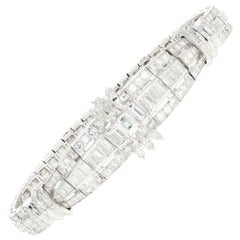 Art Deco Platinum 6 Carat Diamond Bracelet