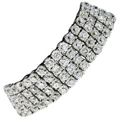 Art Deco Platinum 64.80 Carat Old European Cut Diamond 4-Row Tennis Bracelet