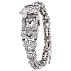 Art Deco Platinum 6.50 Carat Diamond Glycine Wristwatch