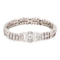 Art Deco Platinum 7 Carat Diamond Bracelet