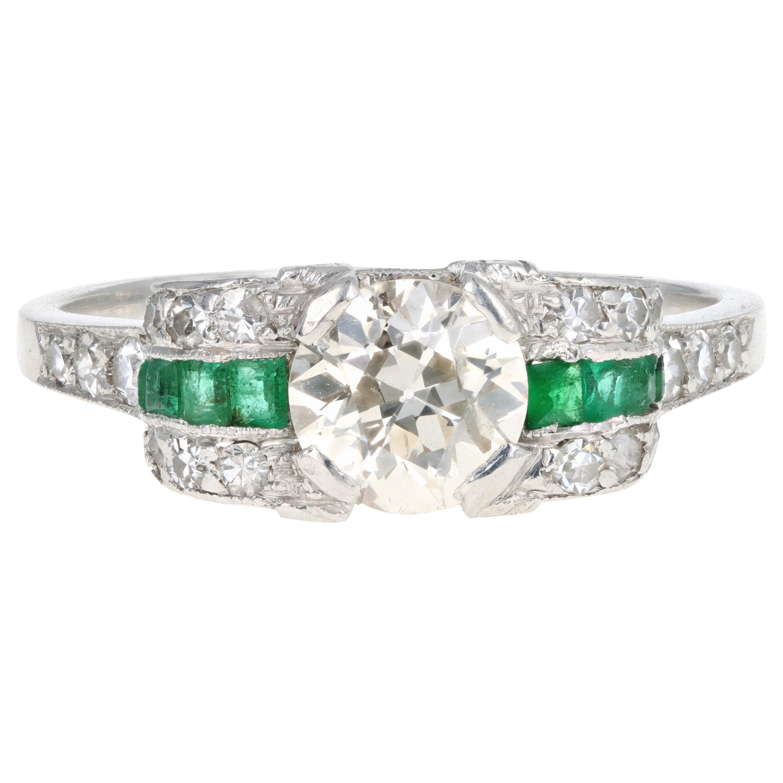 Art Deco Platinum .75 Carat Old European Cut Diamond Engagement Ring