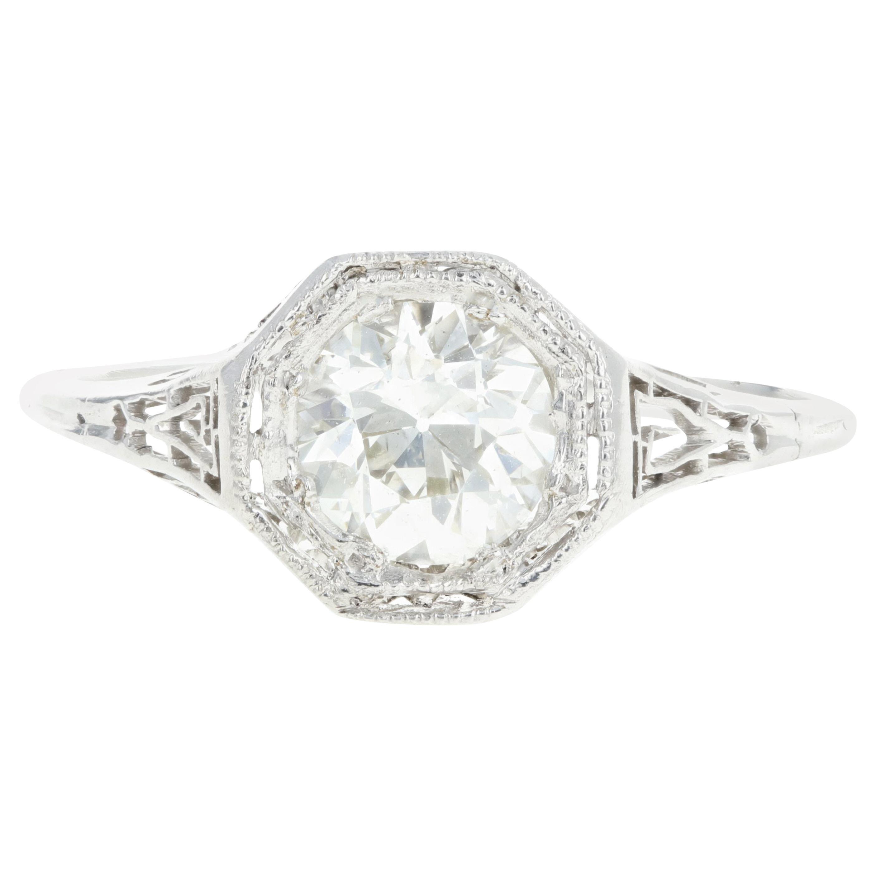 Art Deco Platinum .85 Carat Old European Cut Diamond Engagement Ring