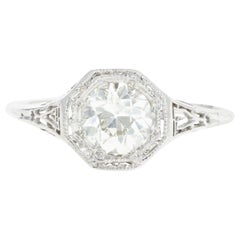 Art Deco Platinum .85 Carat Old European Cut Diamond Engagement Ring